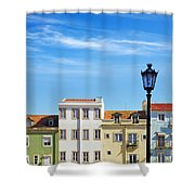 Lisbon Houses Shower Curtain by Carlos Caetano