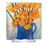 Little Blue Jug Shower Curtain by Sherry Harradence