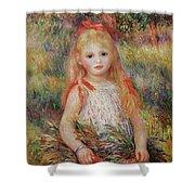 Little Girl Carrying Flowers Shower Curtain by Pierre Auguste Renoir