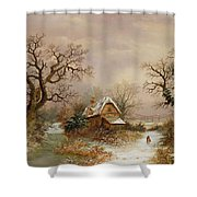 Little Red Riding Hood In The Snow Shower Curtain by Charles Leaver
