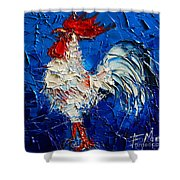 Little White Rooster Shower Curtain by Mona Edulesco
