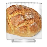Loaf of bread on white Shower Curtain by Matthias Hauser