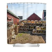 Lobster Traps In North Rustico Shower Curtain by Elena Elisseeva