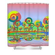 Lollypop Island Shower Curtain by Anastasiya Malakhova