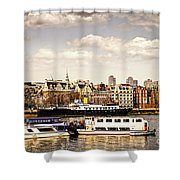 London From Thames River Shower Curtain by Elena Elisseeva