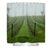 Lone Figure In Vineyard In The Rain On The Mission Peninsula Michigan Shower Curtain by Mary Lee Dereske