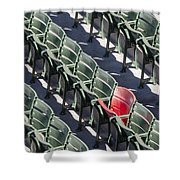 Lone Red Number 21 Fenway Park Shower Curtain by Susan Candelario