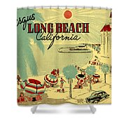 Long Beach 1946 Shower Curtain by Nomad Art And  Design
