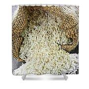Long Grain Rice In Burlap Sack Shower Curtain by Elena Elisseeva