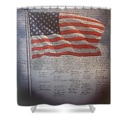 Long May She Wave Shower Curtain by M and L Creations