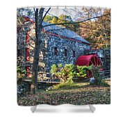 Longfellow's Wayside Inn Grist Mill In Autumn Shower Curtain by Jeff Folger