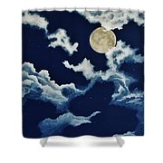 Look At The Moon Shower Curtain by Katherine Young-Beck