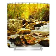 Looking Down Little River In Autumn Shower Curtain by Dan Sproul