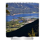 Looking Down On Sandpoint Shower Curtain by Albert Seger
