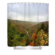 Looking Downstream At Blackwater River Gorge In Fall Shower Curtain by Dan Friend