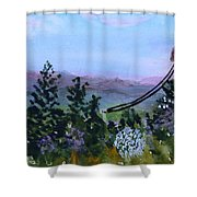 Looking Out From Top Of Jay Peak  Shower Curtain by Donna Walsh