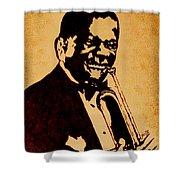 Louis Armstrong Original Coffee Painting Art Shower Curtain by Georgeta  Blanaru