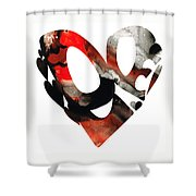 Love 18- Heart Hearts Romantic Art Shower Curtain by Sharon Cummings