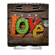 Love And A Ford Truck Shower Curtain by Carla Parris