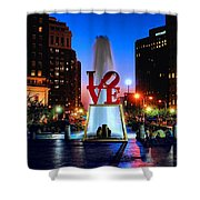 Love At Night Shower Curtain by Nick Zelinsky