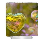 Love Bubble Shower Curtain by Delphimages Photo Creations