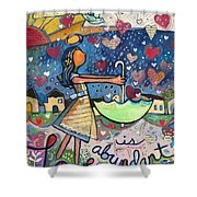 Love Is Abundant Shower Curtain by Jen Norton