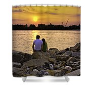 Love On The Rocks In Brooklyn Shower Curtain by Madeline Ellis