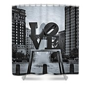 Love Park Bw Shower Curtain by Susan Candelario