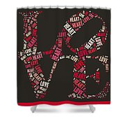 Love Quatro Heart - S111b Shower Curtain by Variance Collections