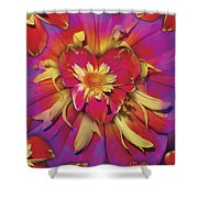 Loveflower Orangered Shower Curtain by Alixandra Mullins