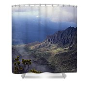 Low Clouds Over A Na Pali Coast Valley Shower Curtain by Stuart Litoff
