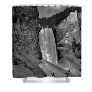Lower Falls In Yellowstone In Black And White Shower Curtain by Dan Sproul
