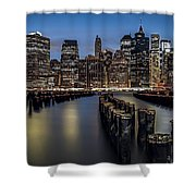 Lower Manhattan skyline Shower Curtain by Eduard Moldoveanu