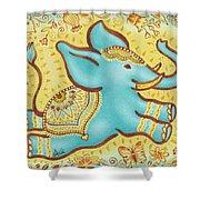 Lucky Elephant Turquoise Shower Curtain by Judith Grzimek