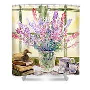 Lupins On Windowsill Shower Curtain by Julia Rowntree