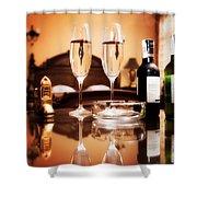 Luxury Interior Hotel Room With Elegant Service Shower Curtain by Michal Bednarek