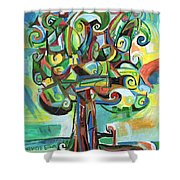 Lyrical Tree Shower Curtain by Genevieve Esson