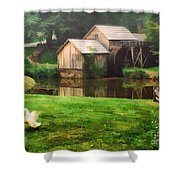 Mabrys Mill And The Welcoming Committee Shower Curtain by Darren Fisher