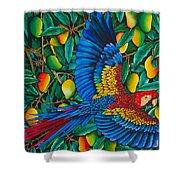 Macaw In Mango Tree Shower Curtain by Daniel Jean-Baptiste