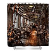 Machinist - A Fully Functioning Machine Shop  Shower Curtain by Mike Savad