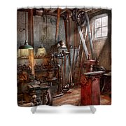 Machinist - The Modern Workshop  Shower Curtain by Mike Savad