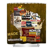 Made In Wisconsin Products Vintage Map On Wood Shower Curtain by Design Turnpike