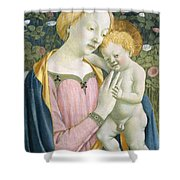 Madonna And Child Shower Curtain by Domenico Veneziano