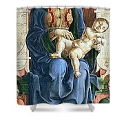 Madonna With The Child Enthroned Detail Shower Curtain by Cosme Tura