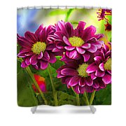 Magenta Flowers Shower Curtain by Chuck Staley