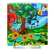 Magical Earth Shower Curtain by Genevieve Esson