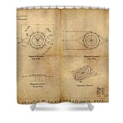 Magneto System Blueprint Shower Curtain by James Christopher Hill
