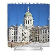 Maine State Capitol Building In Winter Augusta Shower Curtain by Keith Webber Jr