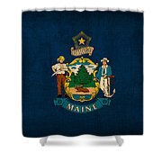 Maine State Flag Art On Worn Canvas Shower Curtain by Design Turnpike