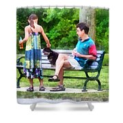 Making A New Friend In The Park Shower Curtain by Susan Savad